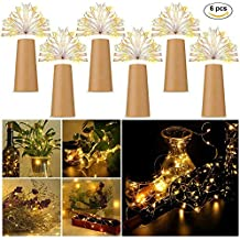 Letilio Botellas vino Luces de cadena, 6 pcs LED Luces de cadena plata para botella