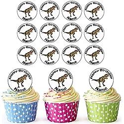 T-Rex dinosaurio 30personalizado comestible cupcake toppers/adornos de tarta de cumpleaños–fácil troquelada círculos