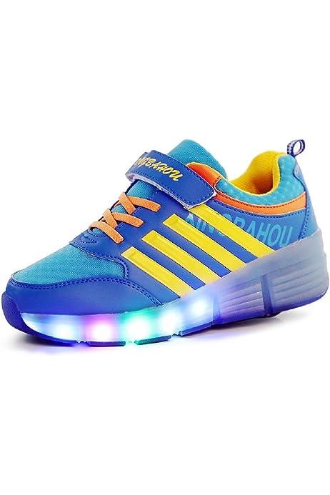 Zapatillas con ruedas led 7 colores deportivas carrefour para niños mujer hombre 2015 (40, Negro): Amazon.es: Zapatos y complementos