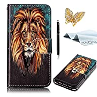 TOUCASA® LG G6 Case,Premium PU Leather Flip Wallet Fashionable Full body Colorful Oil painting Design with Credit Card Slots Holder Folio Book Style Magnetic Closure Stand Function Protective Cover Case for LG G6 + Free Touch Stylus Pen & Dust Plug-Lion