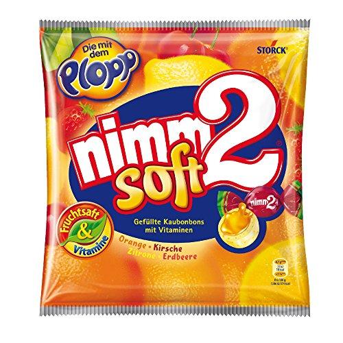 nimm2 soft - Kleine Bonbons mit flüssiger Fruchtsaftfüllung und Vitaminen zum Naschen für Kinder und Erwachsene - (10 x 195g Beutel) - Flüssiges Konzentrat Zitrone