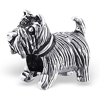 c6789f230 The Rose & Silver Company Women 925 Sterling Silver Dog Shaped Bead Charm  RS0397