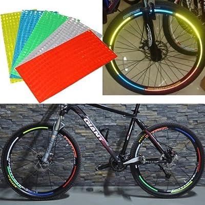 Yunwal 5 x 5 Stück fluoreszierende MTB Fahrrad-Felge Aufkleber, Reflektierende Aufkleber, 5 Verschiedene Farben & zufällig