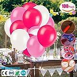 Jyoker 100 Stücke Luftballon Set für Hochzeit/Geburtstag Party Dekoration mit 3 Farben(Weiß,Leicht Rosa,Rosa)