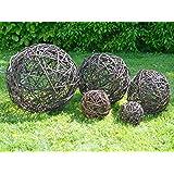 Rieten bal in vele maten - tuin decoratie bal wilgentent natuur decoratie wilgenbal gevlochten - handgemaakt in de EU - 20 cm naturel