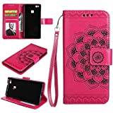 Huawei P9 lite Case, Huawei P9 lite Wallet Case, Flip Leather Case for Huawei P9 lite, BONROY [Mandala Embossed] PU Leather Wallet Case Flip Cover Pouch Magnetic Closure Card Slots & Stand & Wrist Strap with Inner TPU Bumper Protective Case for Huawei P9 lite - Rose Red