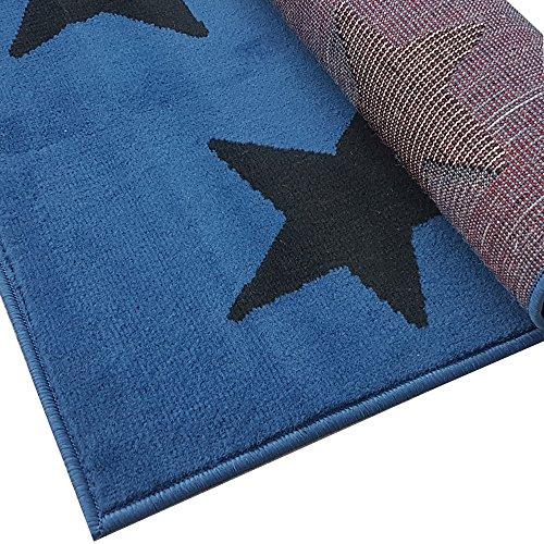 pich Brücke Teppichläufer Sterne Stars ca. 80x250 cm, Größe:80x250 cm, Farbe:blau/schwarz ()