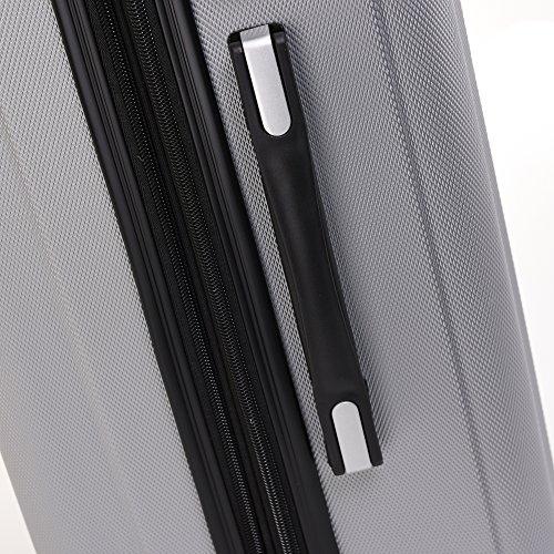 BEIBYE TSA-Schloß 2080 Hangepäck Zwillingsrollen Reisekoffer Koffer Trolley Hartschale Set-XL-L-M(Boardcase) (Silber, M) - 5