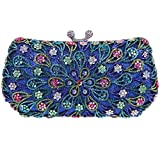 Bonjanvye Blossoming Flowers Kiss Lock Purse Clutch Bags for Wedding Party Dress