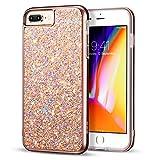 ESR Coque pour iPhone 8 Plus/7 Plus, Strass Bling Bling Glitter de Luxe, Housse Etui de Protection Bumper Double Couche[Protection Complète] pour Apple iPhone 7 Plus / 8 Plus (Or Rose Pailleté)