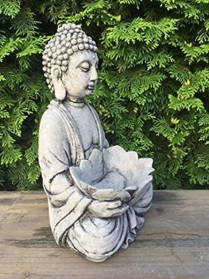 Steinfigur Buddha Lotusschale Pflanzschale Blumentopf frostfest 5,5 kg 30 cm von dekowonderland auf Du und dein Garten