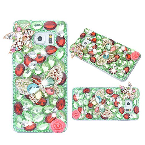 Maple Leaf Dish (spritech (TM) 3D Handmade Fashion Crystal Strass Bling Butterfly Maple Leaf Schutzhülle transparent Hard Case für Samsung Galaxy Note Edge)
