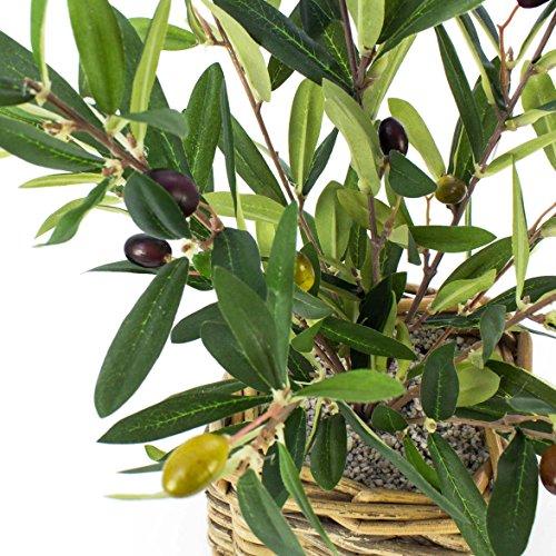 artplants – Künstliches Olivenbäumchen Alberto, im Flechtkorb, 40 cm – Kunstbaum/Deko Baum