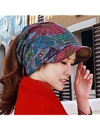 HAPPY-Cap Sombrero Mujer Viento Nacional multifunción pañuelo en la Cabeza  Orejeras Suaves a lo Largo de la Personalidad Gorras Cola de… ab22727eb75