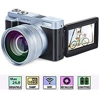 """Caméscope Appareil Photo Numérique FHD 1080p 24.0MP 30 FPS Vlogging Camera WiFi Caméra Vidéo Caméscope avec Objectif Grand Angle, 16 X Zoom Numérique, 3.0"""" IPS Rotation Flip Écran Camescope, 2 Piles"""