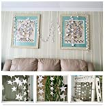 Star Paper Garland, DRESHOW 13 Feet Long Star Garland Bunting for Wedding/Party/Baby Shower, Sliver