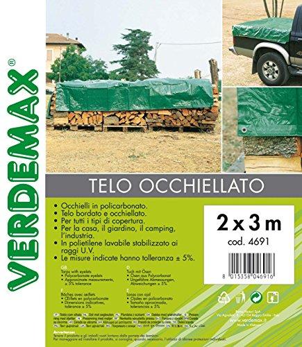 Verdemax 469190g/m² 2x 3m Plane mit Ösen–Grün