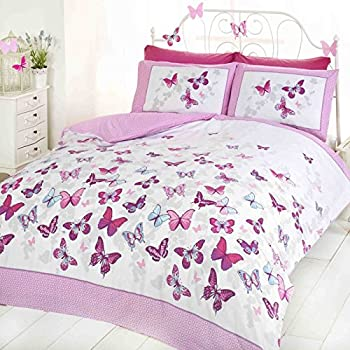 Butterfly duvet set pink double bed size bedding cover set