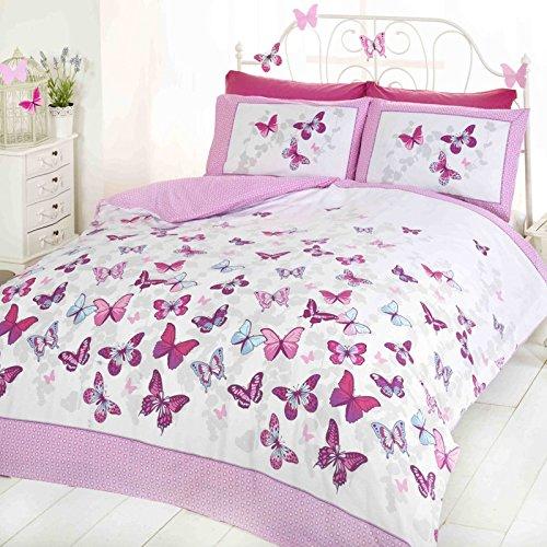 Farfalla, flutter, singolo copripiumino e federa, rosa