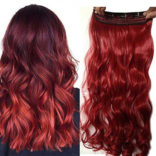 17 inch 43cm one piece clip hair extension capelli lunghi veri mossi [rosso scuro] fascia unica con 5 clip ondulati 3/4 full head 120g