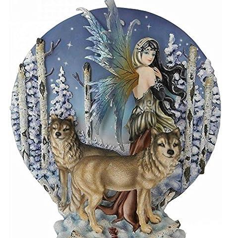 Statue ou Statuette Fée avec Loups - Dimension : env. 22 x 25 cm - Livraison Gratuite