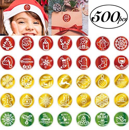 500-tlg sticker weihnachten auf Rolle Weihnachtsaufkleber 3.8cm Rund mit 35 verschiedenen Motiven