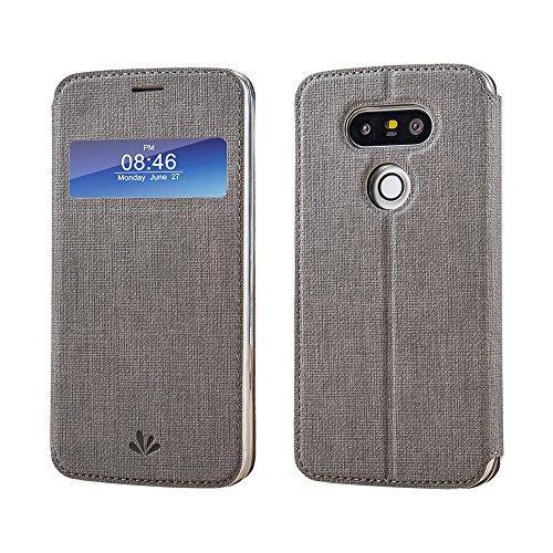 LG G5 Hülle, G5 smart Hülle, Meiya Premium PU Ledertasche Wallet Hülle, Flip-Fenster automatische Schlaf / Wake-Funktion Schutzhülle für LG G5 Grau