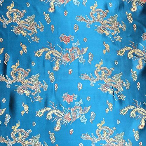 Blaugrün 114,3cm breit geflochten Chinesischer Drache Brokat Kleid Stoff-Meterware -