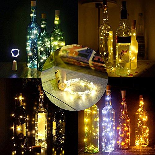 10 Stück Flaschenlichter Lichterketten 2m 20LEDS Weihnachtsdeko Weihnachten Weinflaschen Lichter für Party, Garten, Schlafzimmer Batteriebetrieben