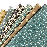 RUSPEPA Foglio Di Carta Da Regalo - Carta Kraft Di Disegno Geometrico Blu Scuro - 6 Fogli Confezionati In 1 Rotolo - 44,5 X 76 CM Per Foglio