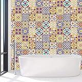 Walplus WT1529 - Adhesivos Decorativos para Pared (15 x 15 x 24 cm), Diseño de Azulejos Marroquíes, 15 x 15 x 0,02 cm, Mezclados
