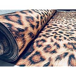 Tela con estampado de leopardo y animales, material de algodón de piel – lona con impresión digital animal para tapicería, cortinas, confección de vestidos (140 cm de ancho, se vende por metro)