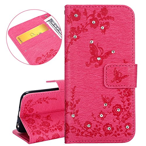 Custodia iPhone 6 Plus, ISAKEN Custodia iPhone 6S Plus, iPhone 6 Plus Flip Cover con Strap, Elegante borsa Tinta Unita Piuma Design in Sintetica Ecopelle PU Pelle Protettiva Portafoglio Case Cover per Diamante: roseo