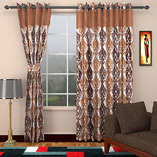 Ajay Furnishings 2 Piece Polyester Paisley Door Curtain - 7 ft, Brown