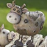 Gartenfigur Farmtiere, zur Auswahl Kuh, Schwein, Schaf, Polyresin / Kunstharz, witterungsbeständig, Höhe: 21 bis 23,5 cm. Ideal als Deko für den Garten oder Gartenteich, auch drinnen einsetzbar., Modell:Kuh