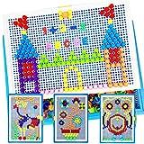 Lemical 380 PCS Creative Jigsaw Puzzle Mushroom Nails Pegboard Mosaic Kit Develop Intelligence Educational DIY Building Block Brick Toy for Kids -Upgraded Version