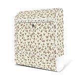 BANJADO Design Briefkasten weiß|38x47x13cm groß mit Zeitungsfach|Stahl pulverbeschichtet|Wandbriefkasten mit Motiv Englische Rose, Briefkasten:ohne Standfuß