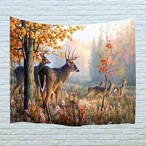 Xinyi Home Wand aufhängen Natur Polyester-Kunst-Hirsch Thema Szenerie, Wand Decor für Wohnheim Zimmer, Schlafzimmer, Wohnzimmer, Nagel Enthalten 60