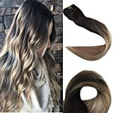 Full Shine 14 Zoll 100gram 10 Pcs Balayage Haarverlängerung Klips Extensions Farbe #1B Fading to #8 and #22 Remy Echthaar Clip in Extensions
