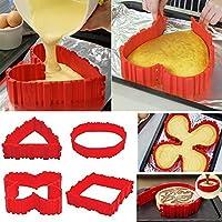 Set de molde de silicona para tarta, bizcocho, forma de corazón con letras y números, forma de silicona flexible para tartas fondant Muffin (4 uds.)