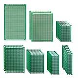 IZOKEE 25 Stücke 7 Größen 2x8, 3x7, 4x6, 5x7, 7x9, 8x12, 9x15CM Doppelseitig Lochrasterplatine PCB Prototype Universal Board Platine Lochrasterplatte Leiterplatte Kit für DIY