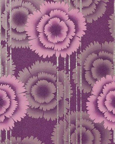 Papel pintado de diseño flores retro EDEM 056-24 años 70 morado fucsia plata