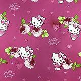 Lizenzprodukt Hello Kitty Kitsy Pink Neuheit Premium Grade 100% Baumwolle feines Gewebe Kinder Vorhang Betten Stoff 140cm breit, Meterware,