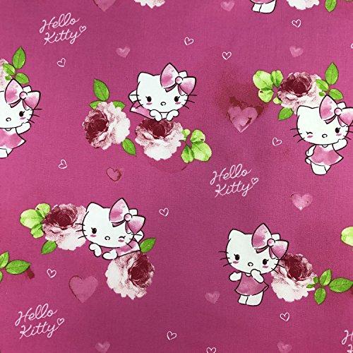 Lizenzprodukt Hello Kitty Kitsy Pink Neuheit Premium Grade 100% Baumwolle feines Gewebe Kinder Vorhang Betten Stoff 140cm breit, Meterware, (Mini Kissen Maus)