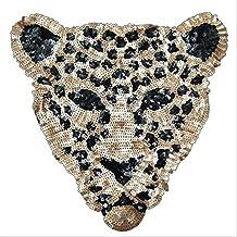 Gran parche termoadhesivo leopardo de lentejuelas hiper bonito para cazadoras, sudaderas, camisetas, bolsos, toallas, tapa diario y libro srapbooking 30 cm. NOVEDAD de OPEN BUY