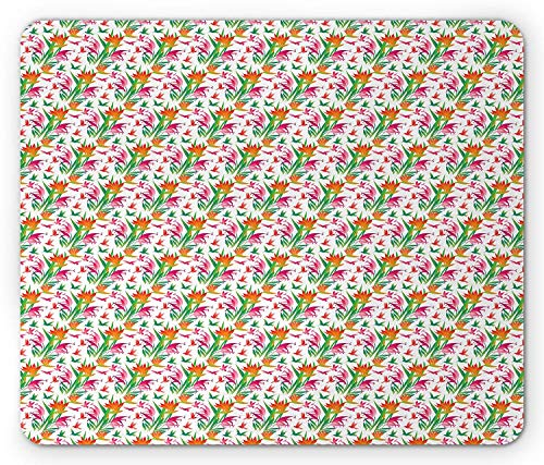Hummingbird Mouse Pad, Silhouette of Hummingbirds with Birds of Paradise Flowers Tropical Pattern, Standard Size Rectangle Non-Slip Rubber Mousepad, Multicolor -