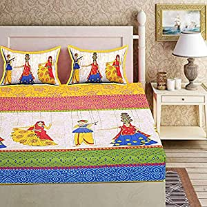 Ealth Kart Cotton 144TC 1 Bedsheet With 2 Pillow Covers ( Double, Yellow)
