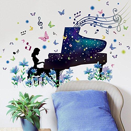 Preisvergleich Produktbild Aufkleber Illusion Klavier Wandaufkleber bunte Muurstickers Kunst Wandabziehbilder Wohnkultur Wohnzimmer Schlafzimmer Dekoration