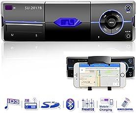 Bluetooth Autoradio mit Smartphone-Halter, Freisprecheinrichtung, eingebautes Mikrofon, USB Anschluss für MP3, iPhone, iPad, iPod, Android, AD2P, AUX Anschluss, SD & MMC Kartenleser, UKW/FM Radio, Handy-Halterung, KFZ Audio Receiver, PKW Radio