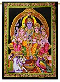 Sophia Art Indian Pailletten Baumwolle Gott der Weisheit & Reichtum Ganesh/Ganesha/Shiva Familie Gobelin 76,2x 106,7cm